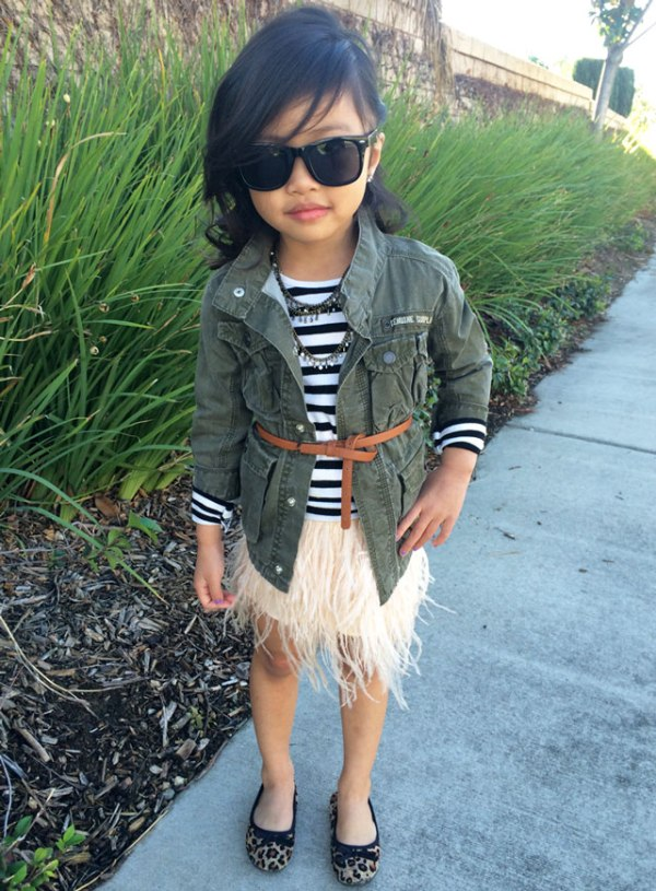 Sydne-Style-A-Z-Trend-Guide-kids-fashion-little-girl-style-turtleneck-feather-skirt-cute-outfit-ideas-army-jacket-stripes-ballet-flats